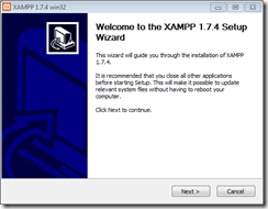 xampp-welcome screen